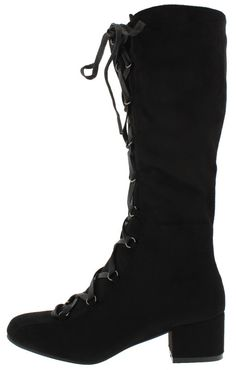 LOTTIE BLACK LACE UP BLOCK HEEL KNEE HIGH BOOT ONLY $23.88
