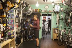 Bike shop, repair centre and café Cycle Lab and Juice Bar combines expertise with a friendly touch and excellent coffee: http://www.timeout.com/london/shopping/cycle-lab-and-juice-bar