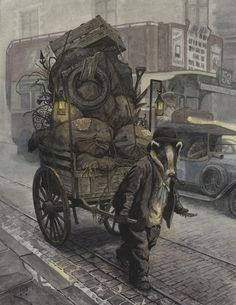 'Rag And Bone' by Chris Dunn Illustration. A badger is working on a smoggy London street, picking up scrap to haul in his wooden cart. Behind a car and London bus pass by. Chris Dunn, Art Base, Design Graphique, Woodland Creatures, Children's Book Illustration, Rag And Bone, Conte, Painting & Drawing, Fantasy Art