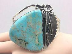 Navajo Big Stoned Pilot Mountain Turquoise Mitzi Bracelet   eBay