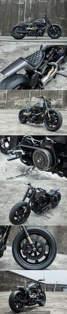 Custom Harley-Davidson Dyna built by Winston Yeh of Rough Crafts. Click to read the full story   - created via http://pinthemall.net