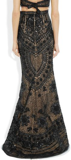 Emilio Pucci Sequined Tulle Maxi Skirt in Black