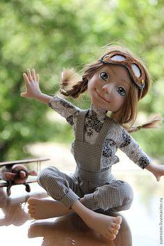 Купить Первый вылет - серый, девочка, кукла, авторская кукла, ручная работа, самолет, пилот