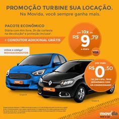 Quer viajar com economia e conforto?   Alugando o carro econômico da #MovidaRentACar, com mais 0,50 centavos na parcela, você participa da Promoção Turbine sua Locação e leva o econômico com ar. #VáDeMovida