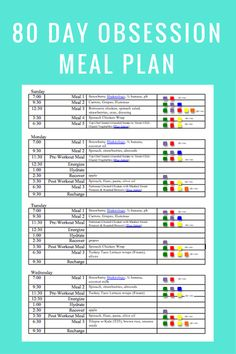 Day Obsession Week One Meal Plan  Clean Eats