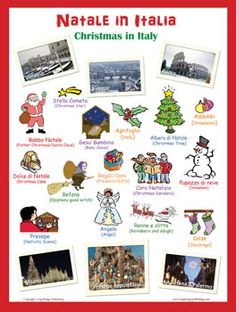 Natale in Italia - Christmas in Italy: Large Christmas poster with words in Italian followed by the English translation