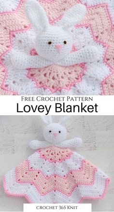 Crochet Lovey Blanket ~ A Bunny to Love - Crochet 365 Knit Too This bunny lovey is such a fast and e Gilet Crochet, Crochet Amigurumi, Crochet Bunny, Love Crochet, Crochet Toys, Easy Crochet, Knitted Bunnies, Crochet Security Blanket, Baby Girl Crochet Blanket
