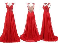 Sweep Train Chiffon Sleeveless Red Prom Dresses Evening Dress S01