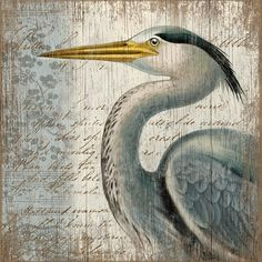 Blue Heron Beach Art from Suzanne Nicoll. Perfectly beach cottage!  #beach #wall art