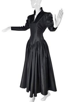 Norma Kamali Black Taffeta Dress With Full Skirt Black Bridal Dresses, Vintage Dresses, Day Dresses, Evening Dresses, Ball Skirt, Black Satin Dress, Taffeta Dress, Norma Kamali, Victorian Fashion