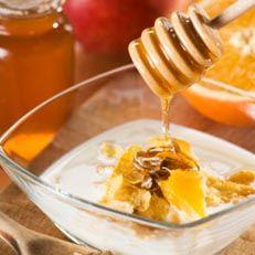 Mediterranean Breakfast: Greek yogurt, pecans, fruit of choice, and honey