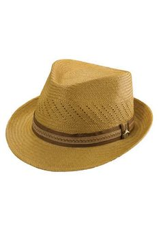 A classic Panama straw fedora is detailed with small perforations and wrapped with a contrasting band. An elasticized sweatband provides a comfortable fit. Color(s): putty. Brand: Tommy