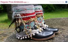 MIDSUMMER SALE Upcycled Boots - Gypsy Boots - Festival Boots - Boho Boots…