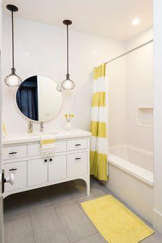 Citron Stripe Shower Curtain from west elm in a bathroom by Von Fitz Design
