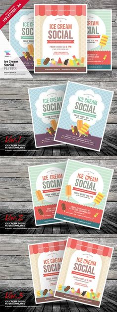 Ice Cream Social Flyer Templates - Creativemarket 712198