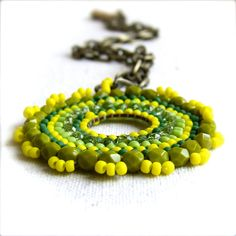 Lime Yellow Glass Seed Beaded Brass Beadwoven by balanced on Etsy