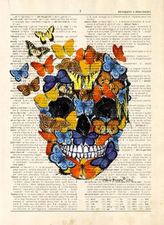 Description: This print is from an original artwork by Chris Brown. Whimsical print of Butterflies Skull printed on an antique Encyclopedia