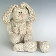 "Magnolia Rabbit - Organic Cotton Hand Knit Large Bunny Toy, 16"" tall"