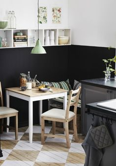 Small and narrow can be quite cozy! Turn a corner of your kitchen into a dining area with the LERHMAN table.