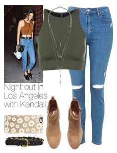 """""""Night out in Los Angeles with Kendall."""" by welove1 ❤ liked on Polyvore featuring Topshop, Onzie, H&M and Casetify"""