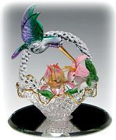 Spun Glass Basket and Hummingbird Figurines