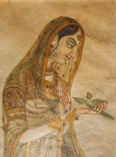 Indian Mughal style gouache of a lady with a parrot - India - Early century Pichwai Paintings, Mughal Paintings, Indian Art Paintings, Abstract Paintings, Painting Art, Landscape Paintings, Mughal Miniature Paintings, Indian Traditional Paintings, Madhubani Art