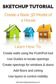 Beginner SketchUp Tutorial: How to Create a Basic 3d Model of a House from a Floor Plan