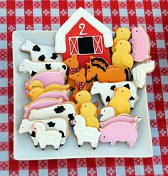 Cute farm animal cookies. I'm thinking pigs...for her favorite snuggly-guy, Mr. Pig. ;)