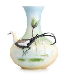 Franz Porcelain Pleasant-tail Jacana Vase Limited Edition