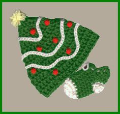 Aunt B's christmas hat and booties
