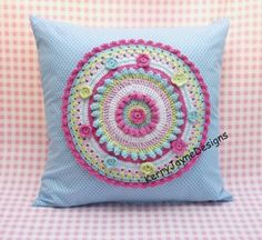 Crochet applique cushion, colourful crochet pillow in cotton yarn, KerryJayneDesigns, cushion cover, gift or a lovely addition to any room.