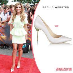 Cheryl Cole in Sophia Webster Coco White Glitter Pointed-Toe Pumps - ShoeRazzi