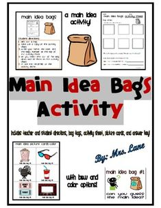 Main Idea Bags Activity (Includes 23 Different Bag Themes!) product from… Main Idea Activities, Class Activities, Reading Activities, Comprehension Strategies, Reading Strategies, Reading Comprehension, Reading Lessons, Guided Reading, Reading Groups