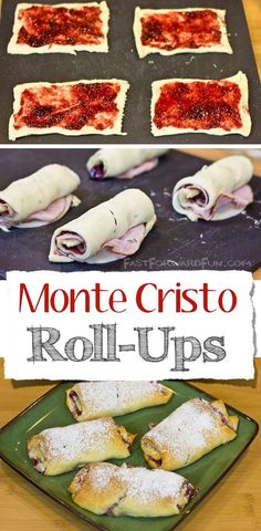 Monte Cristo Roll-Ups Monte Cristo Crescent Roll-Ups :: The easiest and yummiest monte cristo recipe! (super fun video tutorial and step-by-step photos) Monte Cristo Sandwich, Croissant, Sandwich Recipes, Appetizer Recipes, Sausage Breakfast, Breakfast Recipes, All You Need Is, Rolled Sandwiches, Crescent Roll Recipes