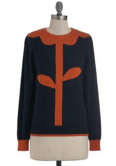 Everything's Coming Up Posy Sweater - Mid-length, Blue, Orange, Knitted, Long Sleeve, Casual, Quirky