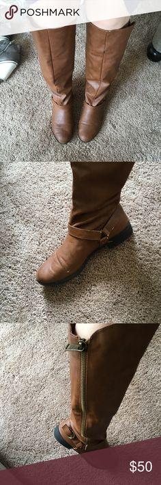 Cognac knee high boots good condition cognac knee high boots sz 8.5 Shoes Over the Knee Boots