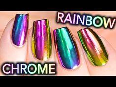 DIY RAINBOW CHROME Nails w/ NEW multi-chrome powder! NO GEL! - YouTube