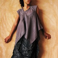 Lise Asymmetric blouse...Light Gray SL by cocoricooo on Etsy, $35.00