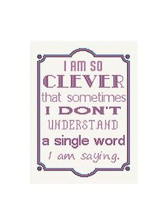 Subversive Cross Stitch Funny Cross Stitch Pattern I Am So Clever Counted Cross…