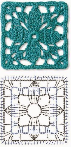Transcendent Crochet a Solid Granny Square Ideas. Inconceivable Crochet a Solid Granny Square Ideas. Motifs Granny Square, Crochet Motifs, Crochet Blocks, Granny Square Crochet Pattern, Crochet Diagram, Crochet Stitches Patterns, Crochet Chart, Crochet Squares, Love Crochet