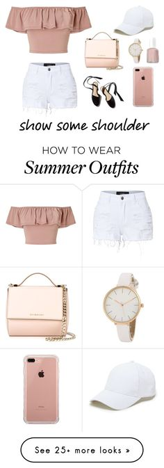 """""""pink summer // outfit"""" by peipeihelenaaa on Polyvore featuring Miss Selfridge, LE3NO, Givenchy, Belkin, Sole Society, Essie, Summer, outfit, summerstyle and showsomeshoulder"""