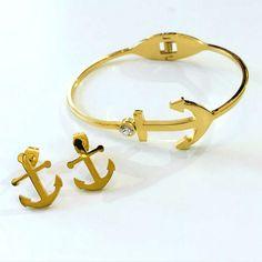 Set By Vila Veloni Gold Anchor Bracelet, Earring