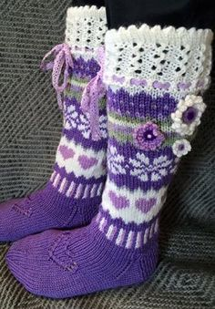 Crochet Socks, Knitted Slippers, Slipper Socks, Knit Mittens, Knitting Socks, Knit Crochet, Thick Socks, Knee Socks, Sock Shoes