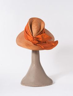 1960's Vintage Orange Straw Hat: Designer John Frederics Wide Brim with Silk Sash Spring Summer