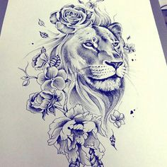 lion flowers tattoo