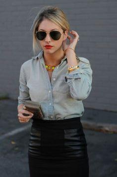 Denim shirt leather skirt