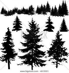 Pine tree silhouette tattoo tat Ideas for 2019 Tree Silhouette Tattoo, Pine Tree Silhouette, Forest Silhouette, Silhouette Images, Silhouette Painting, Tree Drawings Pencil, Tree Photoshop, Pine Trees Forest, Pine Tree Tattoo