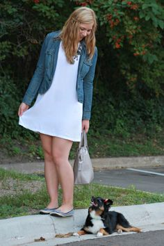 White dress, jean jacket, statement necklace & Fit in Clouds flats!
