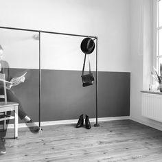 Open wardrobe frame DUO LOW. Offener Kleiderschrank DUO LOW! www.various-shop.com. #steelpipe #Stahlrohr #industrial #industrialdesign #wasserrohr #clothingrack #furniture #möbel #kleiderschrank #wardrobe #clothesrail #handmade #diy #modernindustrial #coatrack #interior #interiordesign #modern #fashionlovers #fashionvictims #timelessdesign #inspiration #handmade #living #architecture #scandinavian #homedesign #bedroom #minimalism #interiorstyle #interiorlovers by various.design.shop