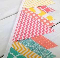 Bunting, Banner, Fabric Flags, Baby Girl Nursery Decor, Pennant, Garland - Coral Pink, Peach, Salmon, Turquoise, Yellow, Chevron, Damask
